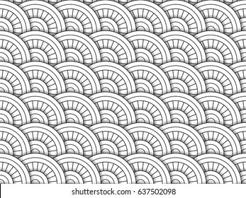 Ornament for Eastern motives. Black and white geometric pattern in zentangle style. Drawing in the form of a mosaic or tile from circles. Easy to edit and use. Vector illustration.