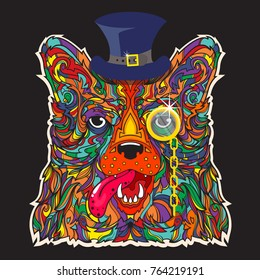 Ornament face of gentleman dog with hat and monocle, vector line art cartoon illustration isolated on black background