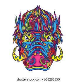 Ornament face of warthog in line art style, coloring book page, vector illustration isolated on white background