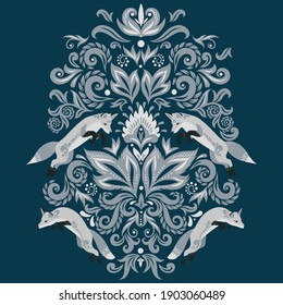 Ornament with foxes  in the style of Damask on a dark blue background.