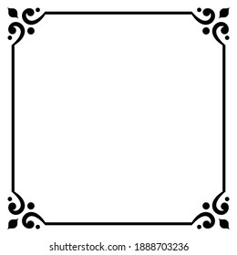 ornament frame, baroque border classic style, decorative floral elements for design invitations, greeting cards, labels, cover book, monogram, wedding decoration and laser cutting, place for text