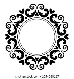 Ornament frame of silhouette swirling lines, vegetation, hearts. Print for the cover of the book, postcards, t-shirts. Illustration for rugs. Decoration element.