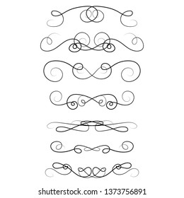Ornament frames and scroll swirls element. Calligraphic wedding curl and swirly line. For calligraphy graphic design, postcard, menu, wedding invitation, romantic style. Vector illustration.