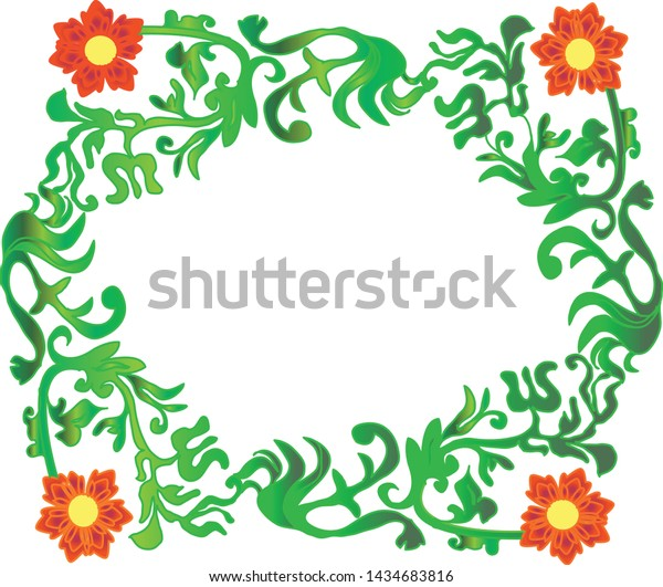 Ornament of green leaves and stems carrying abstract flowers and line centered.
