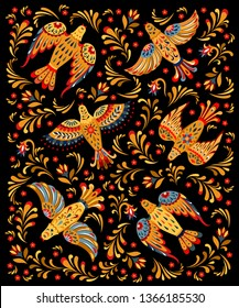 Ornament hohloma birds. Vector illustration of traditional Russian ornament