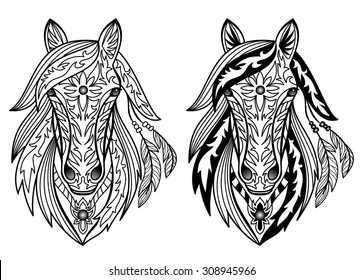 Ornament Horses. Vector illustration for textile prints, tattoo, signs web and graphic design