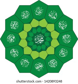 ornament Islamic circle full color. with text names of leader in Shia beliefs