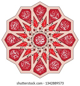 ornament Islamic circle. with text names of leader in Shia beliefs