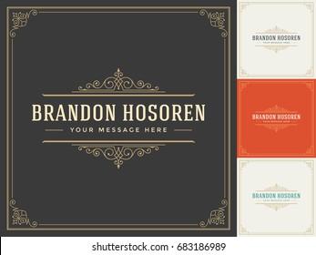 Ornament logo design template vector flourishes calligraphic decorations elegant royal frame lines. Good for Luxury Crest, boutique brand, wedding shop, hotel sign.