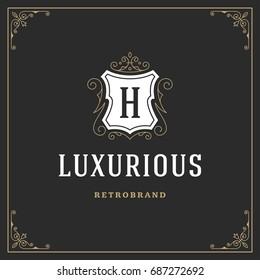 Ornament logo design template vector flourishes calligraphic vintage frame. Good for Luxury Crest, boutique brand, wedding shop, hotel sign.