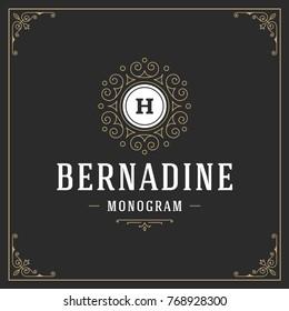 Ornament monogram logo design template vector flourishes calligraphic vintage frame. Good for Luxury Crest, boutique brand, wedding shop, hotel sign.