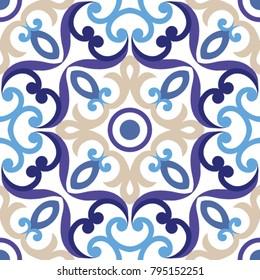 Ornament on Italian tiles, majolica, seamless