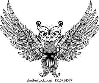 Ornament owl vector. Beautiful illustration for design, print clothing, stickers, tattoos, Adult Coloring book. Hand drawn animal illustration. Zentangle stylized eagle owl.