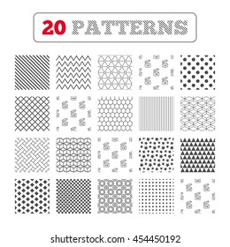 Ornament patterns, diagonal stripes and stars. After opening use icons. Expiration date 9-36 months of product signs symbols. Shelf life of grocery item. Geometric textures. Vector