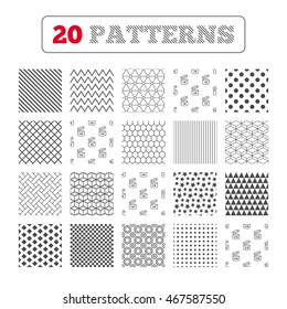 Ornament patterns, diagonal stripes and stars. After opening use icons. Expiration date 6-12 months of product signs symbols. Shelf life of grocery item. Geometric textures. Vector