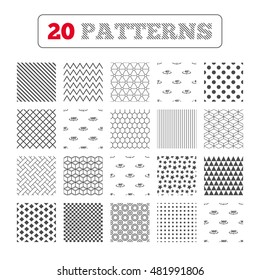 Ornament patterns, diagonal stripes and stars. Angle 45-360 degrees icons. Geometry math signs symbols. Full complete rotation arrow. Geometric textures. Vector