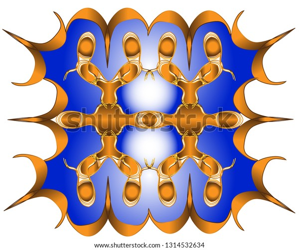 Ornament of rectangular shape with colored lines in abstract connection to spikes and arches with colored fillings.