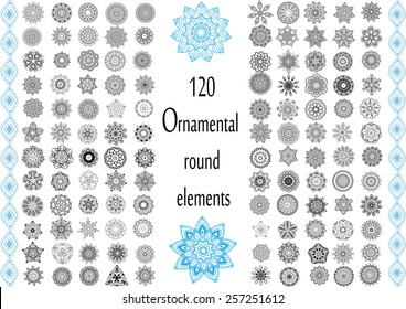 Ornament round set with mandala. Geometric circle element made in vector. Perfect set for any other kind of design, birthday and other holiday, kaleidoscope,  medallion, yoga, india, arabic