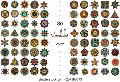 Ornament round set with mandala. Geometric circle element made in vector. Perfect set for design, birthday holiday, kaleidoscope,  medallion, yoga, india, arabic, bohemian,  bohemian girl, boho