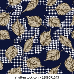 ornament seamless leaves  pattern on eclectic fabric