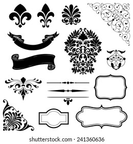 Ornament Set of black vector ornaments - scrolls, banners, frames, rule lines and corner elements.
