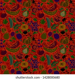 Ornament with vegetables, fruits on a red background. Seamless vector pattern for wallpaper and textiles.