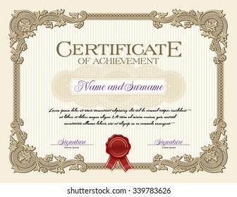 Ornament Vintage Frame Certificate of Achievement Alabaster