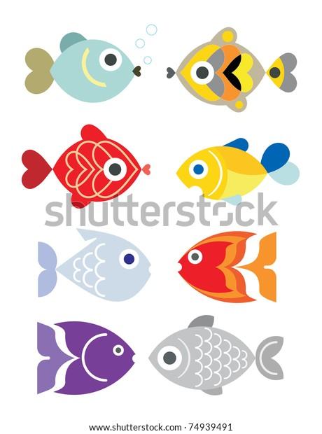 Ornamental Aquarium Fishes Vector Illustration Isolated Stock Vector Royalty Free 74939491