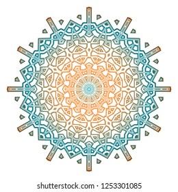 Ornamental arabic pattern with mandala. Vintage vector for print or web design. Invitation, wedding card, national design.