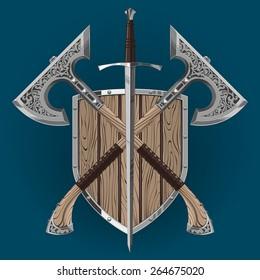 ornamental axe wood shield sword bastard