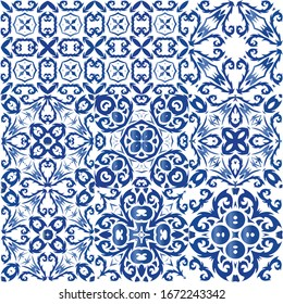 Ornamental azulejo portugal tiles decor. Vector seamless pattern frame. Bathroom design. gorgeous flower folk print for linens, smartphone cases, scrapbooking, bags or T-shirts.