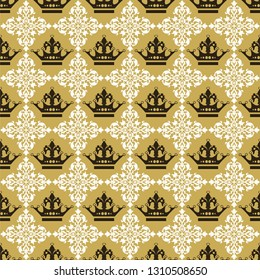 Ornamental background with crowns seamless pattern vector graphic