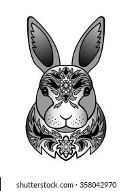Ornamental Black Rabbit. Vector illustration of abstract animal for tattoo, textile print, chinese calendar symbol