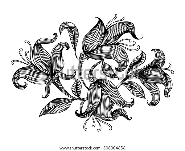 Ornamental Bouquet of Lined Flowers. Vector Hand Drawn Illustration.