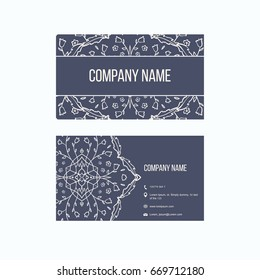 Voucher gift certificate coupon template floral scroll pattern ornamental business cards for cafe restaurant shop print vector decorative frame reheart Choice Image