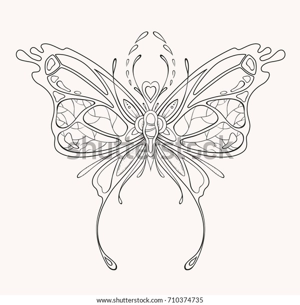 Ornamental Butterfly Coloring Page Adult Child Stock Vector Royalty Free 710374735