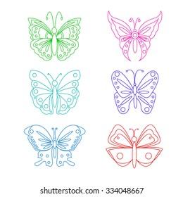 Ornamental butterfly set. Vector Illustration. Filigree line art style. Outline silhouettes.