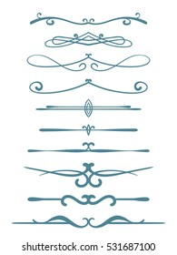 Ornamental calligraphic line page decoration, Vector design element set.