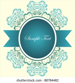 Ornamental cameo for  text with decorative colorful floral elements  and  turquoise ribbon. Vector design for greeting card or invitation