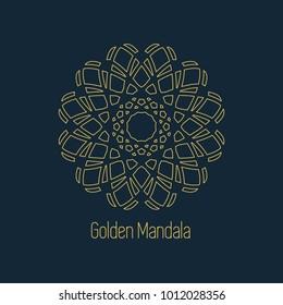 Ornamental card with linear golden mandala. Mosaic geometric decorative element. Vector background