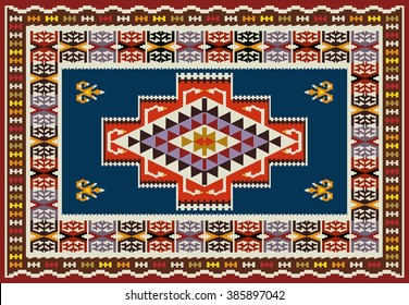 Ornamental Carpet Design . Tribal Vector Background .