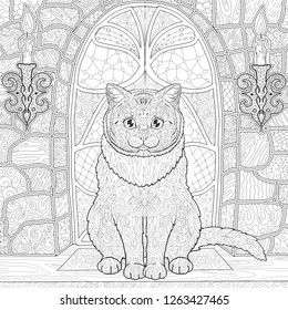 Ornamental  cat for coloring. Сat is sitting on the background of the stained glass window in the castle with candles. Coloring book page in the Gothic style with animals.