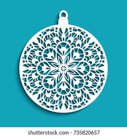 Ornamental Christmas ball, cutout paper pattern, round Christmas decoration suitable for laser cutting or wood carving, vector eps10