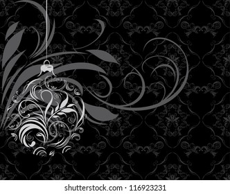 Ornamental Christmas ball on the black background. Vector