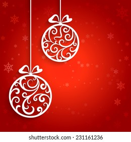 Ornamental Christmas balls with paper swirls, vector background, eps10