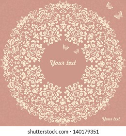 ornamental circle template with floral background.