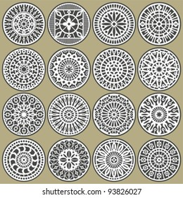 Ornamental circles decors. A set of ornamental circles stencils with natural and geometric elements.