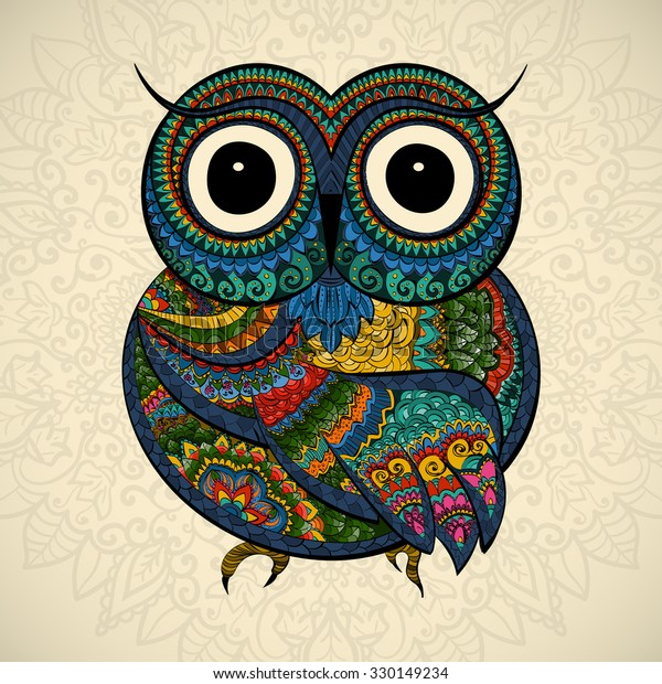 ornamental color owl with flowers and mandala. African, indian, totem, tattoo. It may be used for design of a t-shirt, bag, postcard, a poster and so on.
