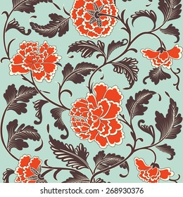Ornamental colored antique floral pattern. Vector illustration