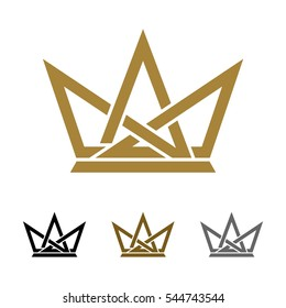 Ornamental Crown Line Logo Template Illustration Design. Vector EPS 10.